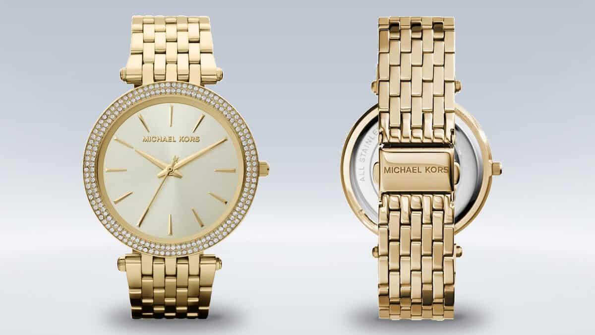 Zlaté dámské hodinky Michael Kors s kamínky