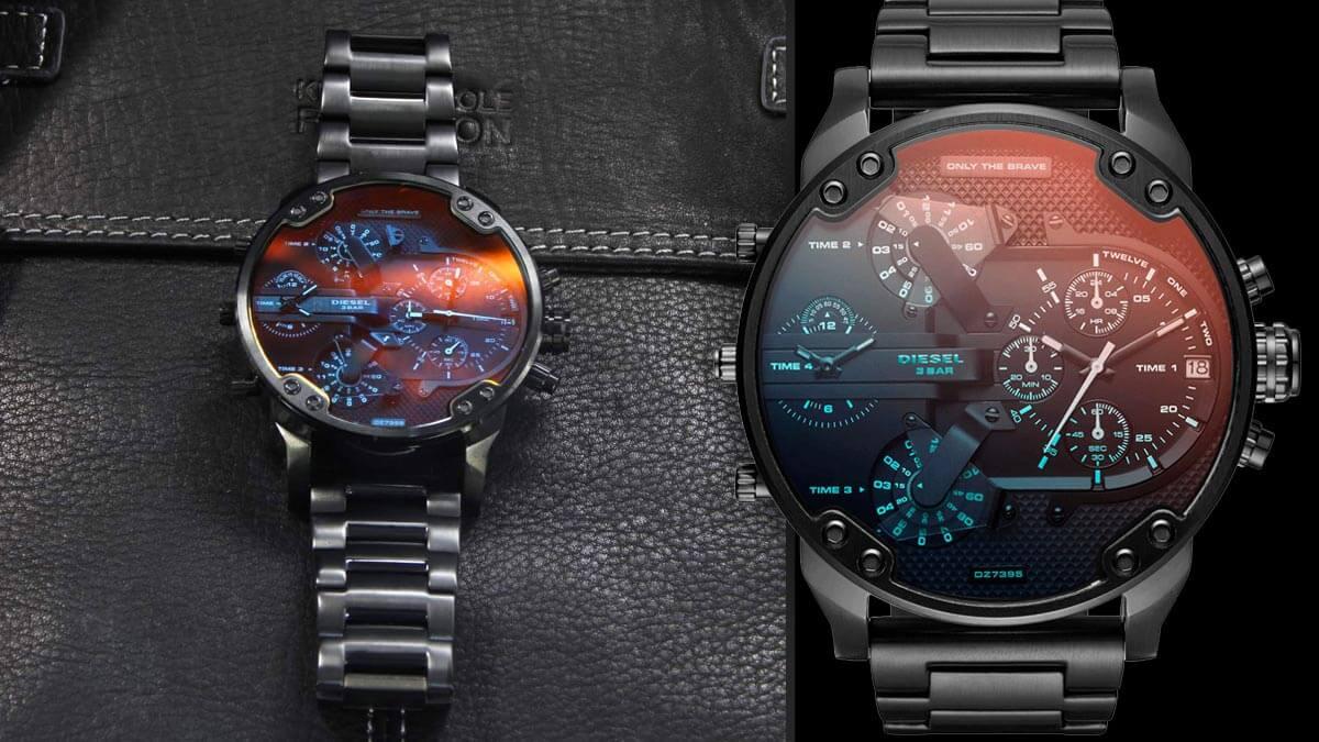 Černé hodinky s červenými odstíny v ciferníku