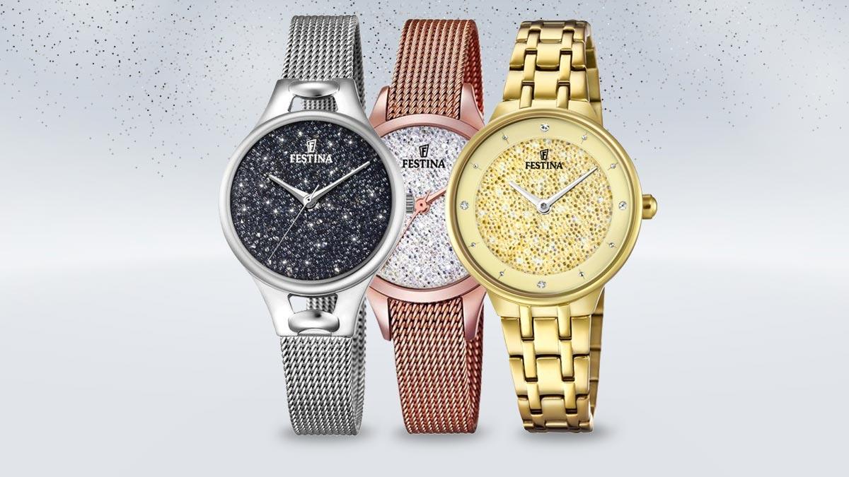 Dámské hodinky Festina Swarovski s kamínky na ciferníku