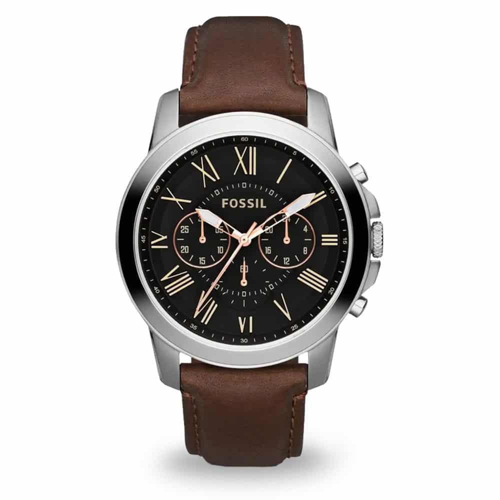 Vintage hodinky Fossil s hnedým remienkom