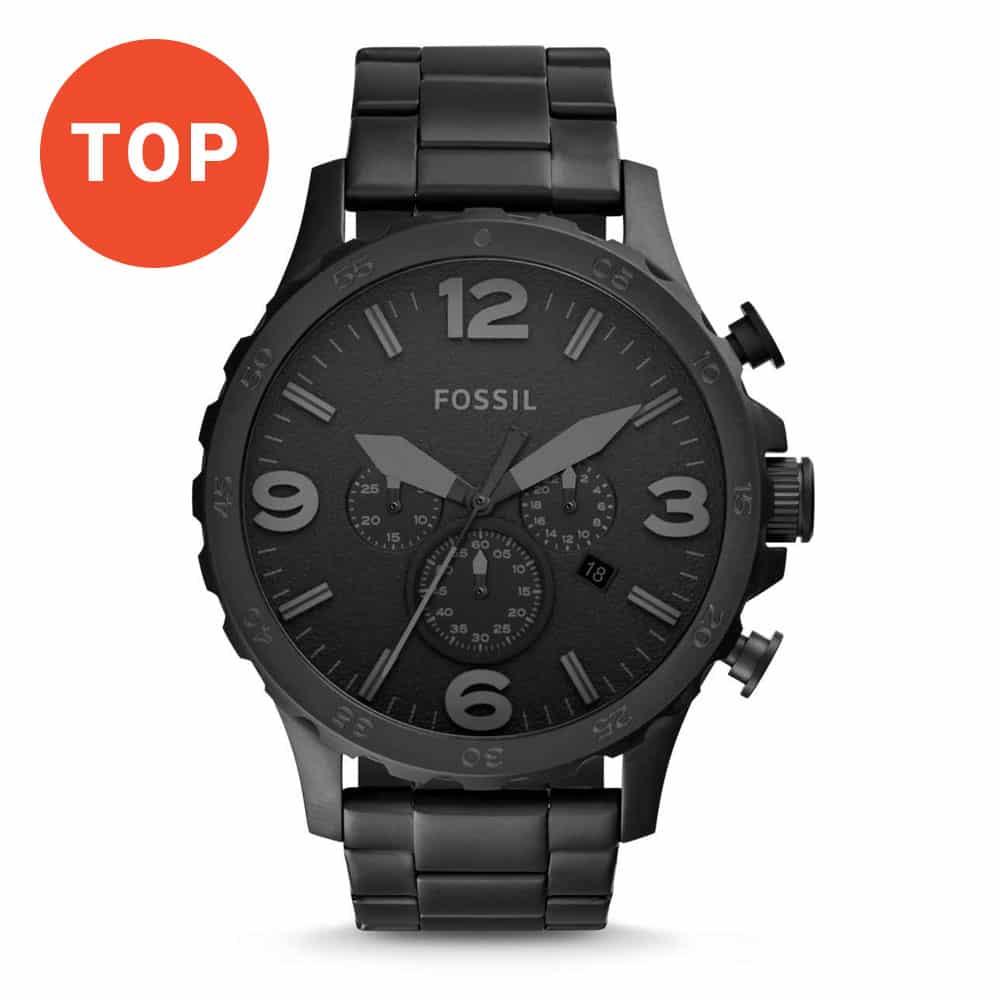 Pánske čierne hodinky Fossil Nate Chronograph