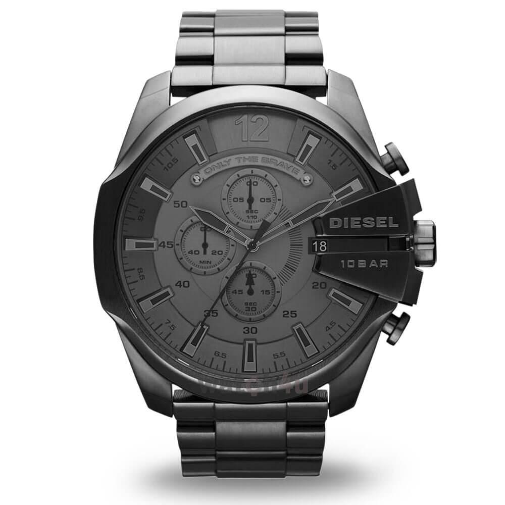 Velké černé hodinky Diesel