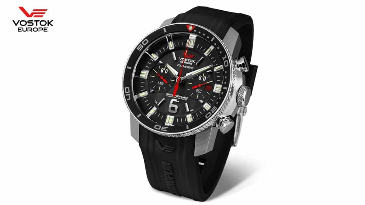 Černé hodinky Vostok Europe Ekranoplan