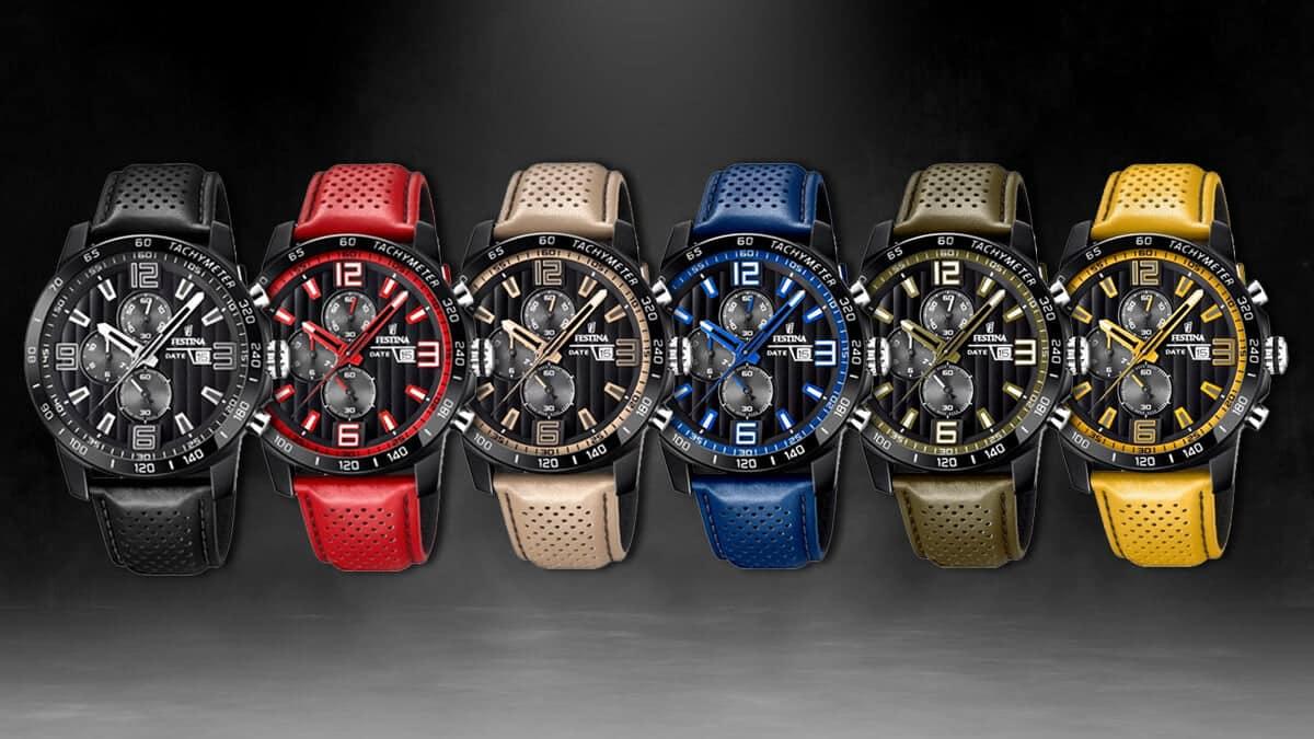 Barevná kolekce sportovních hodinek Festina The Originals s koženým řemínkem