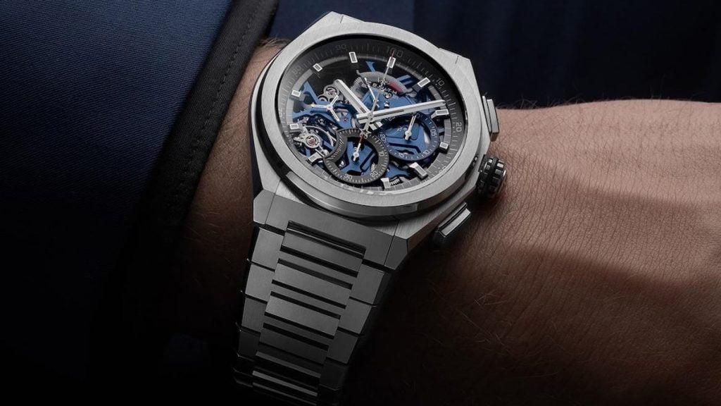 Švýcarské hodinky značky Zenith s typickým hranatým designem