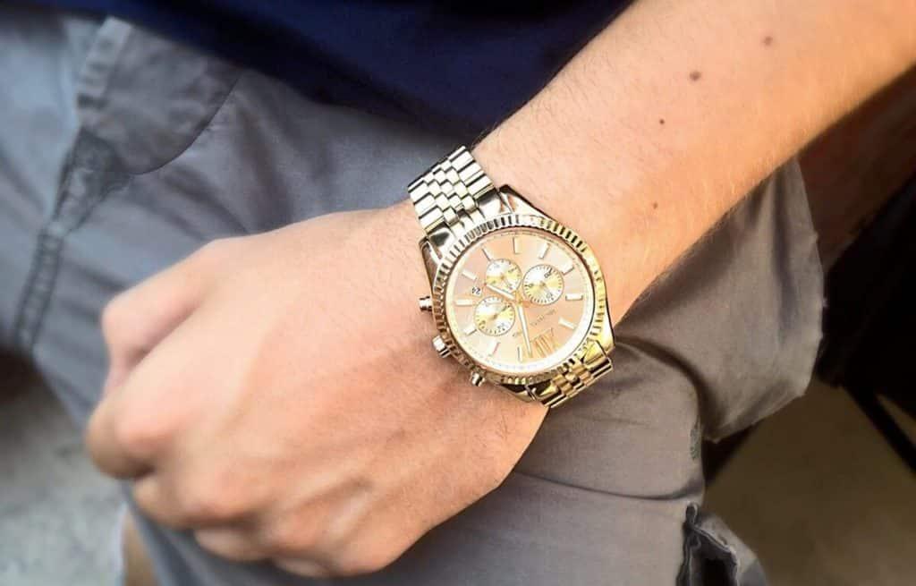 Zlaté pánské hodinky Michael Kors s velkým ciferníkem