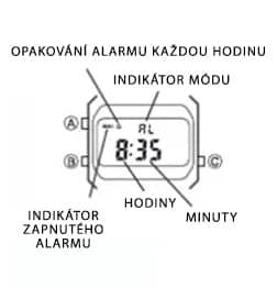 Mód alarmu v hodinkách Casio Vintage