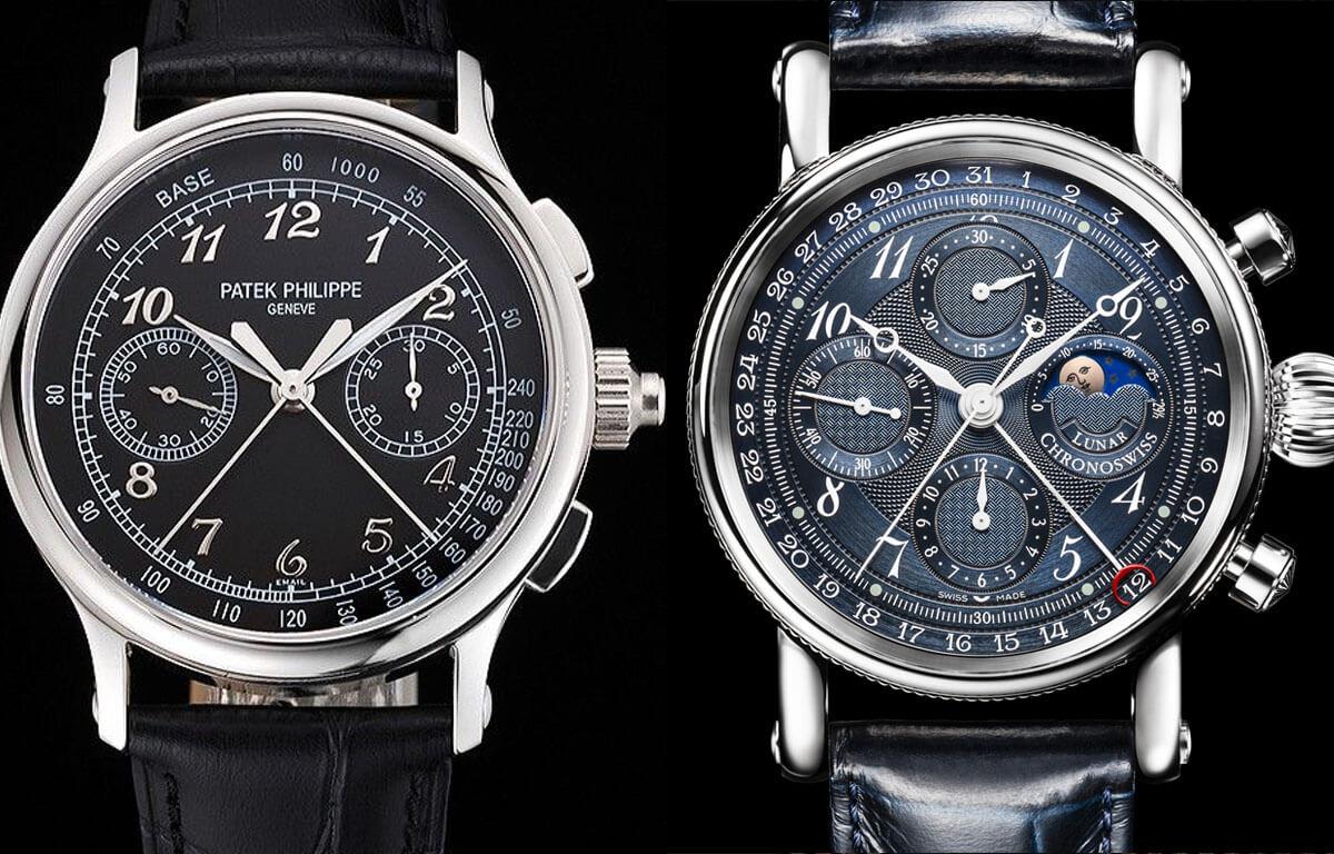 Počet chronografů se může u jednotlivého typu hodinek lišit