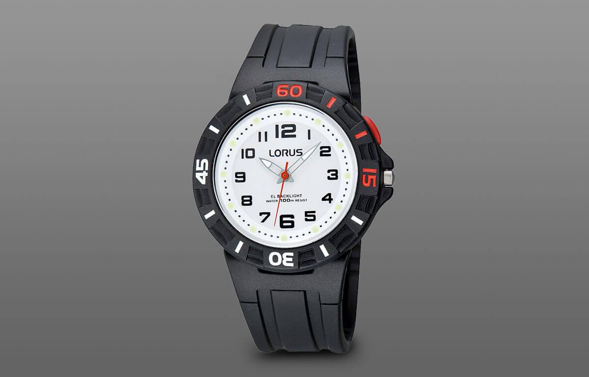Jednoduché chlapecké hodinky Lorus s gumovým řemínkem