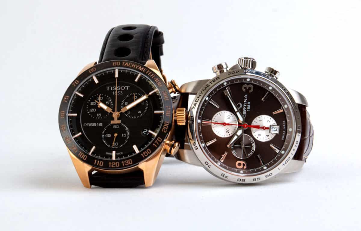 Choronografové budíky na hodinkách značky Tissot a Certina