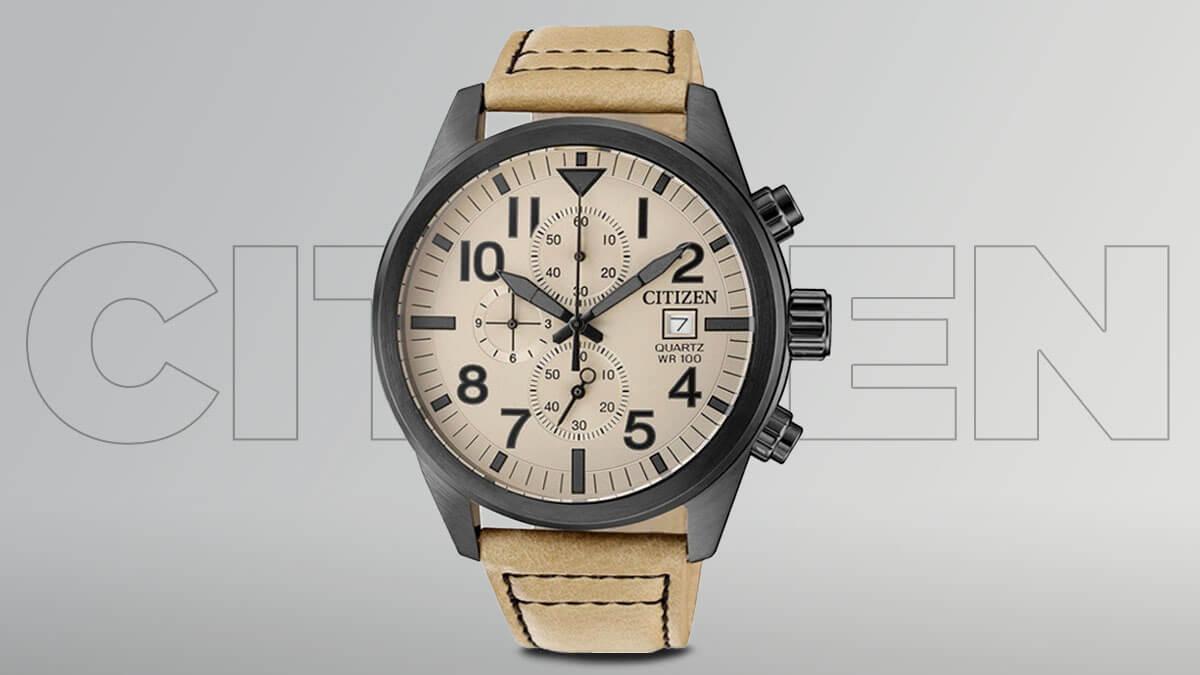 Levné pánské hodinky Citizen s hnědým páskem