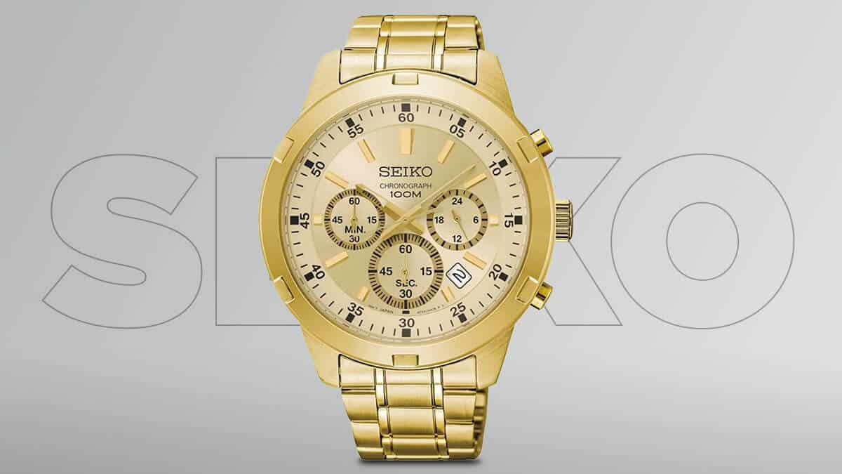 Zlaté pánské hodinky Seiko s chronografy